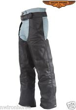 BRAIDED LEATHER MOTORCYCLE CHAPS WITH POCKETS SMALL TO 4XL NEW UNISEX DL336*04