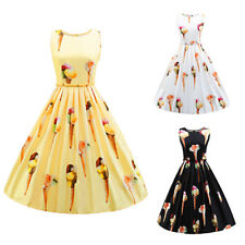 Women 1950s 60s Vintage Rockabilly Swing Pinup Dress Retro Floral Cocktail Party