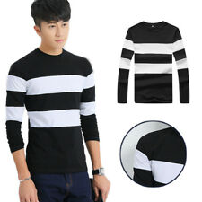 Stripe Men's Shirts O Neck T Long Sleeve Casual T Shirts 1Pcs Mens Slim T-Shirt