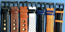 7 Colors 22mm Genuine Perforated Leather Rally Racing Strap & Breitling Buckle