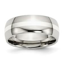 Chisel Stainless Steel Sterling Silver Inlay 8mm Polished Band Ring SR38