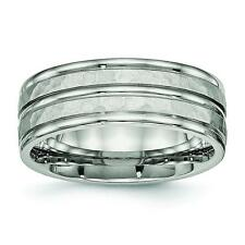 Chisel Stainless Steel Polished Hammered and Grooved 8.00mm Band Ring SR529