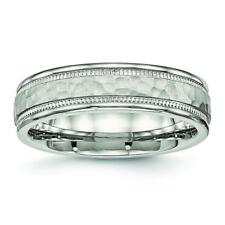 Chisel Stainless Steel Polished Hammered and Grooved 6.00mm Band Ring SR532