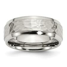 Chisel Stainless Steel Beveled Edge 8mm Hammered and Polished Band Ring SR117