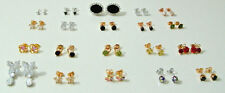 yellow gold earrings 9k white women girl simulated gemstone stud er8