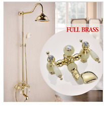 "classic Jade Golden Brass Wall Mounted 8"" Rain Headshower bath faucet combo set"