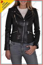 Women's Genuine Lambskin Leather Jacket Black Slimfit Biker Motorcycle Jacket 41