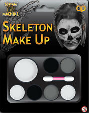 Skeleton Black Grey White Applicator Fancy Dress Make Up Palette Brush Halloween
