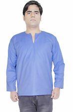 Indian Kurta for Men Cotton Casual Summer Shirt Blue Bollywood Clothing Outfit