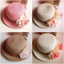 Kids Girls Summer Lace Small Straw Flowers Sun Visor Hat Fashion Beach Wooly Cap