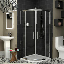 6mm Double Sliding Door Quadrant Walk In Cubicle Shower Enclosure + Stone Tray