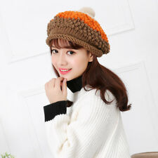 Winter Pom Pom Girls Hat Casual Knitted Ribbed Beanie Womens Warm Cap MultiColor