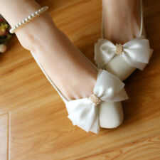 White Bow Ankle Beading Wedding Shoes Flats Low High Bridal Shoes Size 3-11