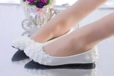 Flats White Lace Flowers Pearl Wedding Shoes Flat Heels Bridal Shoes Ballet