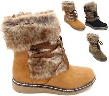 Womens Ladies Girl Flat Faux Fur Lined Boots Ankle Warm Winter Snow Shoes Size