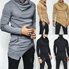 Fashion Men Irregular Knitted Sweater Slim Fit Jumper Pullover Blouse Tops Shirt