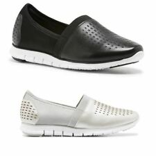 LADIES WOMENS HUSH PUPPIES ANDO BLACK  SILVER SLIP ON LEATHER CASUAL SHOES FLATS