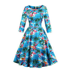 UK Women's Vintage 1950s Rockabilly Pinup Evening Party Prom Swing Dress Floral