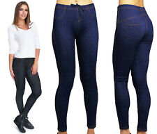 New Ladies Womens Biker ZIP LEGGINGS High Waist Biker Trousers Skinny Jeggings