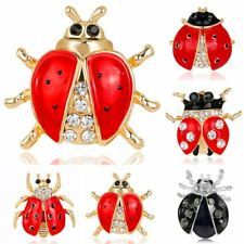 Women Fashion Silver/Gold Crystal Rhinestone Enamel Ladybug Brooch Pin Jewelry