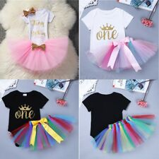 Baby Girl First One Year Birthday Tutu Skirt Romper Outfit 1st Party Cake Dress
