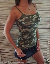 Sexy Camo Low Cut Cleavage Retro Tank Cami Top Camouflage Army Green L