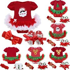 Baby First Christmas Deer Santa Romper Jumpsuit Girls Tutu Dress Outfit Clothes