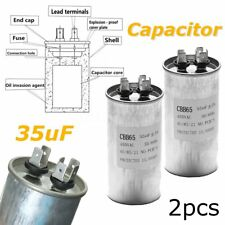 2Pcs 35UF CBB65 450V AC 50/60HZ Air Motor Conditioner Compressor Start Capacitor