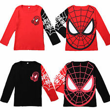 Kids Boys Marvel Spiderman Long Sleeve T-Shirt Tops Sweatshirt Pullover Costume