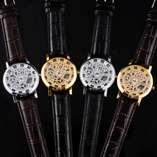Skeleton Mens Women Leather Band Quartz Stainless Steel Gold Wrist Watch Hour