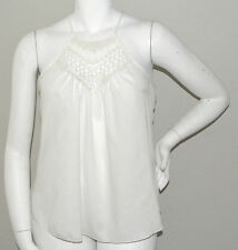 Toto Collection Crochet Lace Inset Halter Tank Top - White - Plus 1XL - New!