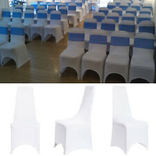 50Pcs White Flat Front Covers Spandex Lycra Chair Covers Wedding Party For Sale