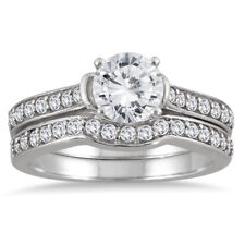 AGS Certified 1 1/2 CTW Diamond Bridal Set in 14K White Gold