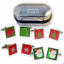 Christmas Themed Cufflinks in a Personalised Engraved Chrome Gift Box