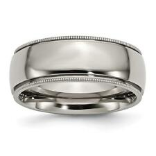 Chisel Titanium Grooved and Beaded Edge 8mm Polished Band Ring TB133