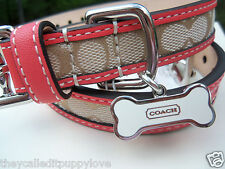 NEW COACH LEGACY CORAL SIGNATURE EXTRA SMALL  LARGE DOG COLLAR XS L 64556