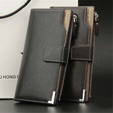 Leather Men Long Wallet Purse Clutch Bifold ID Card Coin Money Holder Pockets