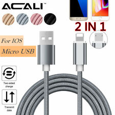 ACALI 2 In 1 Strong Braided Micro USB Data Charging Cable For Android/IOS Phone