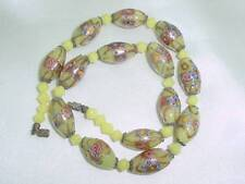 VINTAGE GOLD FOIL YELLOW WEDDING CAKE VENETIAN MURANO GLASS BEADS NECKLACE #1105