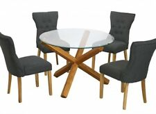 New Oporto Solid Oak & Glass Round Medium 107CM Dining Table + Naples Chairs