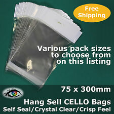 Hang Sell Crystal Clear 75x300mm CELLO PP Cellophane Bags Adhesive Lip #PH75300