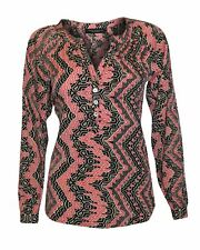 Womens Black Red Aztec Print Long Tunic Top Blouse Top with Mandarin Collar