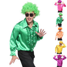 MENS 1970S DISCO RUFFLE SHIRTS ADULTS FANCY DRESS COSTUME 60S 70S FRILLY TOP
