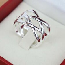 Silver Plated Ring Charm Gift Weave Rings New Size 6 7 8 9 10 Women Jewelry