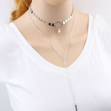 Sequins Chain Tassel Pendant Double Layer Women Choker Necklace Jewelry Utility