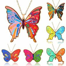 Women Fashion Printing Butterfly Pendant Necklace Long Sweater Chain Jewelry New