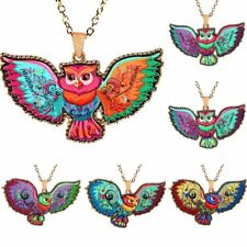Women Fashion Printing Animal Owl Eagle Pendant Necklace Sweater Chain Jewelry