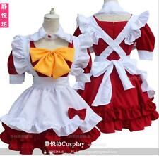 Sweet Lolita Red Maid Short Sleeve Cosplay Dress Bow Gothic Vintage Cute#M-R-48