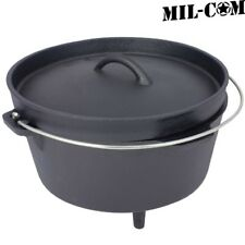 MIL-COM CAST IRON DUTCH OVEN COOKING POT 4.25L 8.5L MILITARY CAMPING COOKING PAN