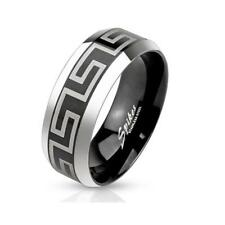 Ring Stainless Steel Silver Black 0 1/32IN WIDE LASER ENGRAVING Maze 47 (15) -